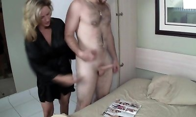 Mom Helps Son Jerk