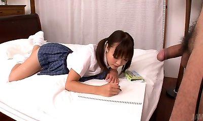 Lusty Asian college slut Momoka Rin sucks tasty cock of her camera boy