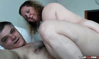 Chubby Amateur Couple Plumbing On The Sofa