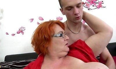 Granny SSBBW pummeled by young boy