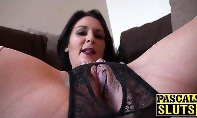 Nasty brunette mom with obese ass playing with her used cunt