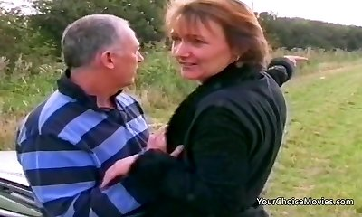 Elder mature couple risky outdoor sex