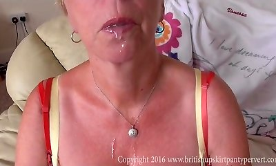 Brit Upskirt mature Aunty Shirley swallows jizz