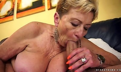 Aroused granny Malya sucks rock hard dick with extreme lust