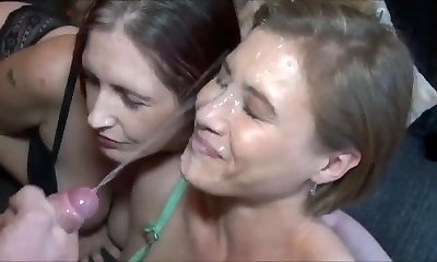 Amazing Never-ending Cumshot on Super-hot Milf Face