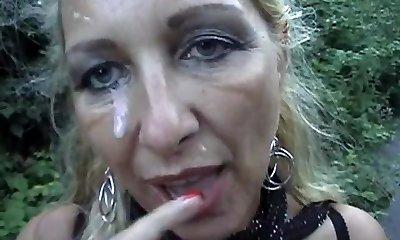 Pierced Blond Mom Gets A Facial Outdoors