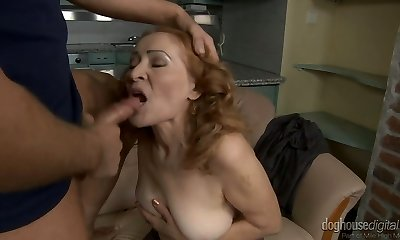 Lusty granny Izida gets her shaved cunt beaten by a crazy boy