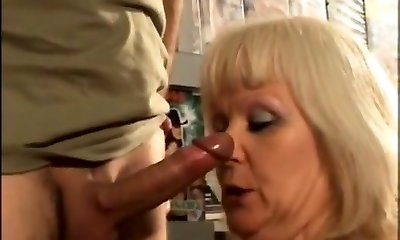 French blondie mature fucked at the sex shop