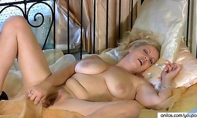 Busty Cougar Multiple Masturbation