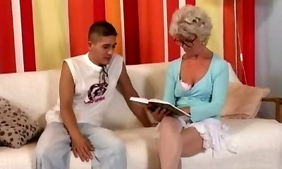 Grandmother in Glasses Fucks the Boy