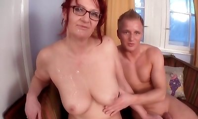 Redhead-BBW-Granny with Glasses pummeled by youthfull Guy