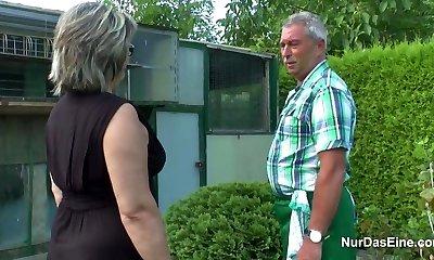 German Granddad and Grandma smash Hard in Garden