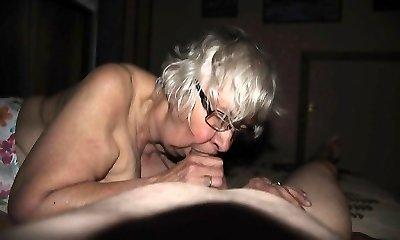 grandmother with big boobs has fun