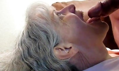 Grey haired grannie fellatio and cum in her mouth