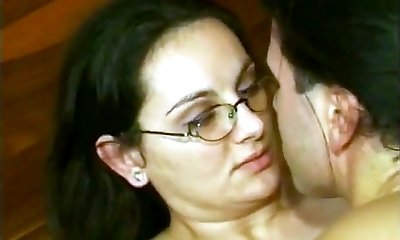 HAIRY GERMAN Mummy IN GLASSES Double Penetration JOINED