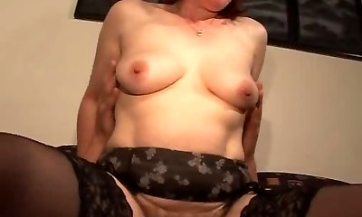 Wooly Mature Redhead in Glasses and Stockings Plows