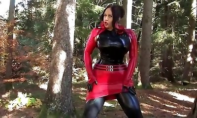 Busty Halloween Sweetheart - Outdoor Blowjob Handjob with Latex Mittens - Cum on my Gloves