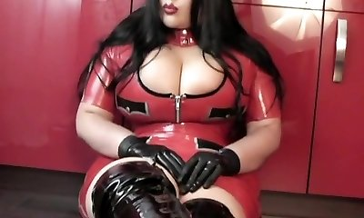 Kitchen Blowjob Handjob with Latex Gloves - Lady dressed in latex uniform Boots - Jizm in my Throat