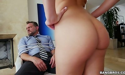 Bound up mature man gets deep-throat blowjob by Aidra Fox