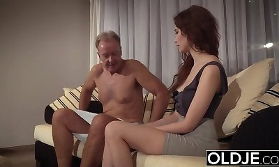 Old Young Porn Natural Teenie Takes Grandpa dinky In her pussy