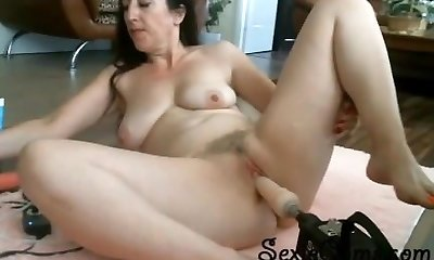 Tight Black-haired Trying Her Fresh Fucking Machine