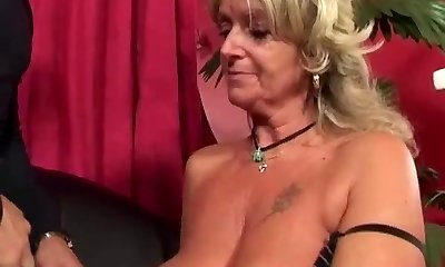 Granny enjoys anal banging machine