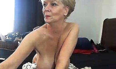 Lush blonde in cotton panties uses big fucktoys