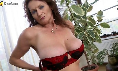 Big breasted grandmother getting wet and insane