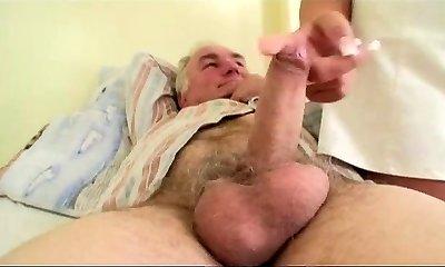 Granny observes grandpa plows nurse in hospital