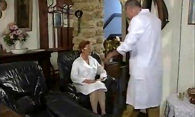 Mature French Nurse drilled by two Fellows