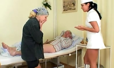 Naughty Warm Nurse Helps Old Patient To Get Laid