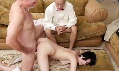 Old man and nurse super-fucking-hot fucks messy slut