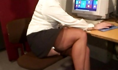 Sexy Stocking Taunting MILF in Engaged Office