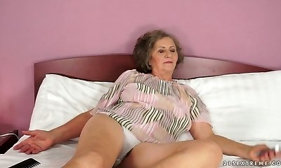 Old tramp Kata takes youthful dick in her ugly old twat