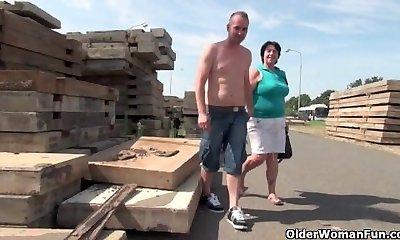Ugly grandma with 1 inch nips banged outdoors