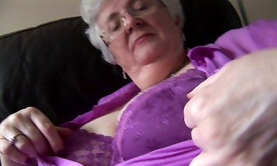 Granny with massive orbs upskirt no panties taunt