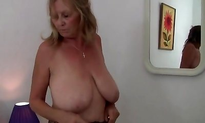 Granny WITH Gigantic BREASTS RIPS OPEN HER PANTYHOSE