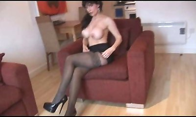 Silly Faux Tits Mature in Pantyhose and Stocking