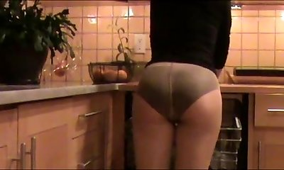 Mother Cleans The Kitchen In Panties Under Pantyhose
