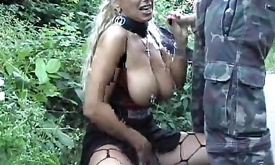 Pierced Ash-blonde Mummy Gets A Facial Outdoors