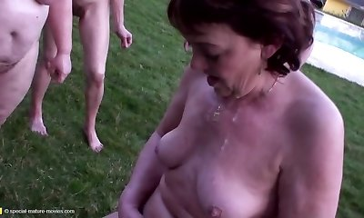 Mature gang-fuck with pee and without limits