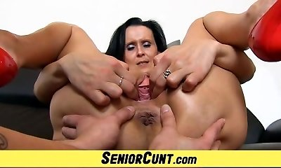 Elder with young pussy stretching games with hot milf Nora
