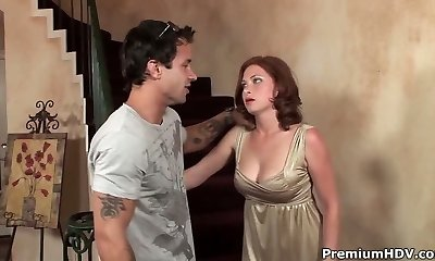 Redhead momma bangs on stairs