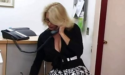 Mature assistant gets jizm on her big tits