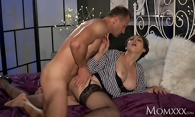 Mommy Office woman in tights wants rock hard cock