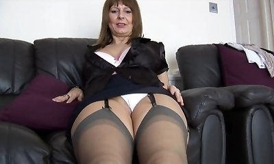 Mature busty assistant talks dirty