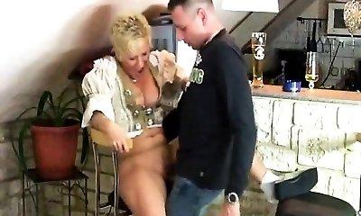 Smoking Mature Gal gives BJ with jizz shot