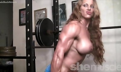 Naked Female Bodybuilder Redhead Cougar Braless in Gym