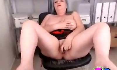 Grandmother Squirts on Office Webcam