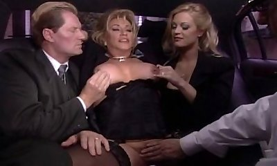 Blond mature labia vibrating in car